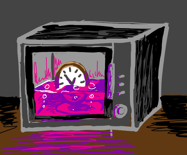 a clock with purple liquid inside a microwave