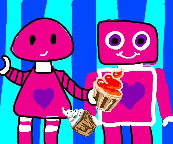 Girly Robots share cupcakes with each other