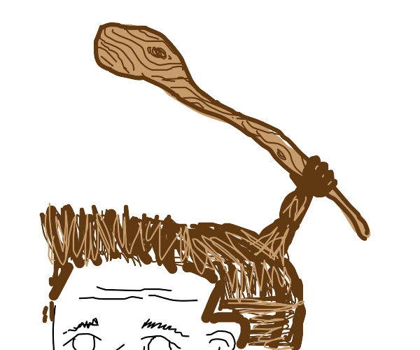 Pile of hair holding a wooden staff