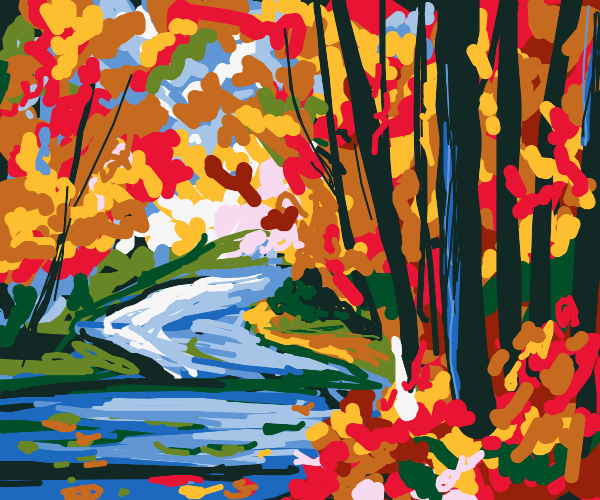 River in an autumn forest, colorful