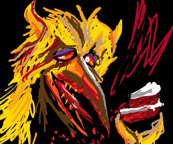 Giant bird with horns eats cake