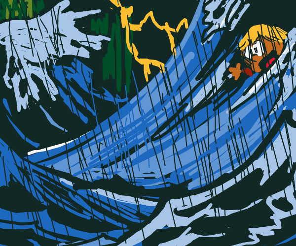 Child drowning in a stormy ocean
