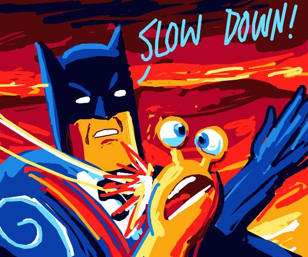 Batman slapping Turbo the snail