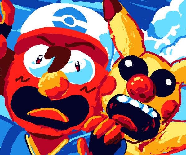 Ash and Pikachu turned into Elmos