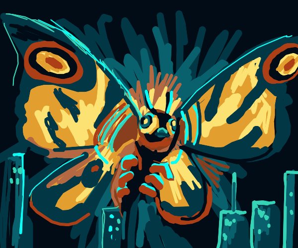 moth creature flying over city