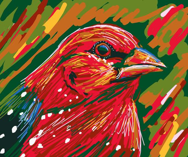 Bird just started a bob ross tutorial messy