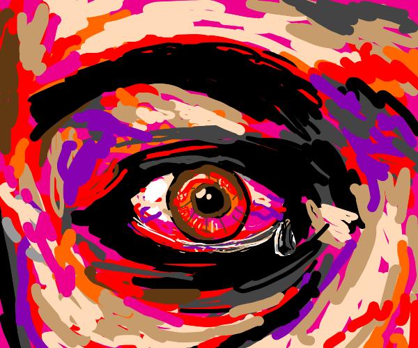 blood shot watery eye