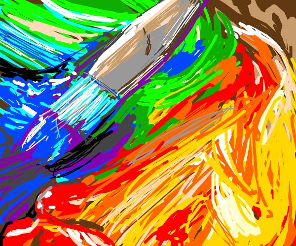 Paintbrush laying on finished painting