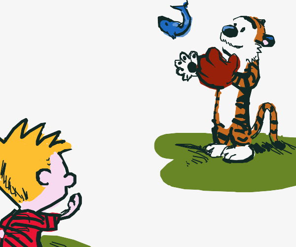 Calvin and Hobbes play catch with a fish