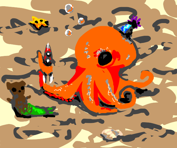 Cute octopus playing with toys on his bday