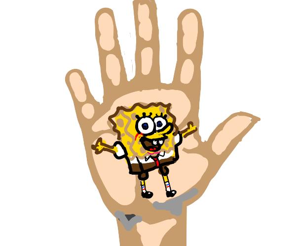 spongebob on a hand