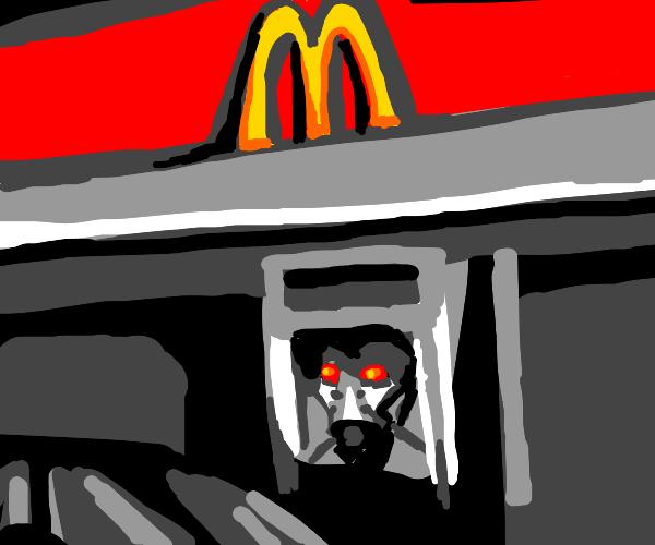 A horrifying robot takes ur McDonald's order