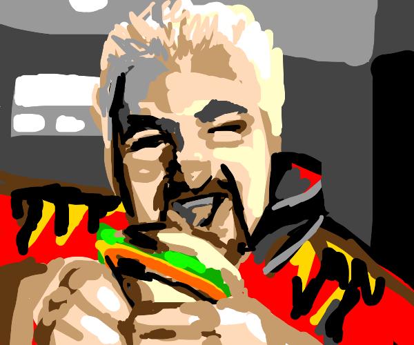 guy Fieri eats hamburger