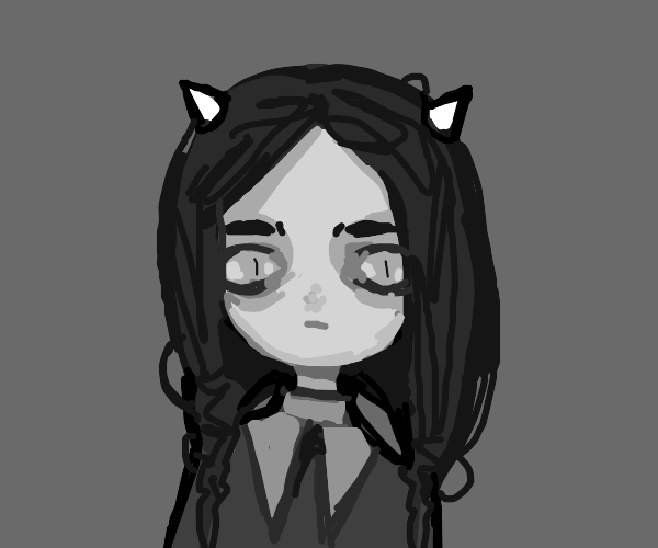 Wednesday Addams but with devil horns