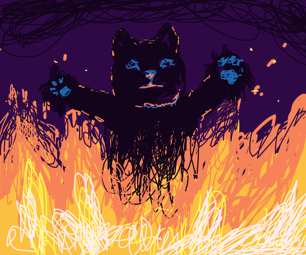 Cat with disfigured paws burning in hell
