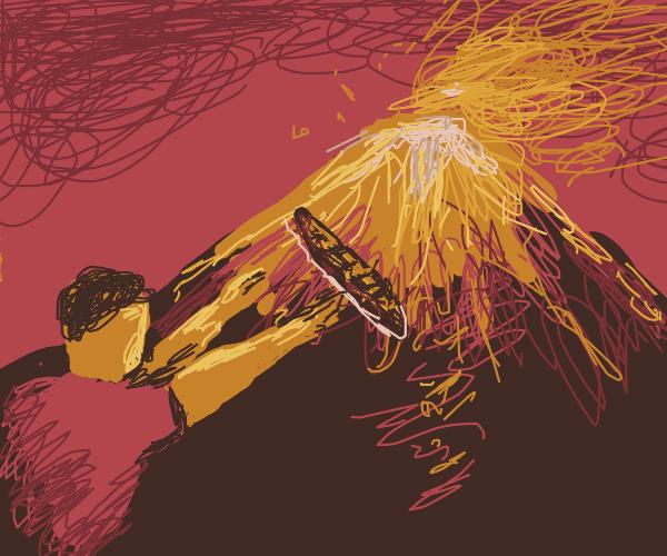 guy throws baguette at erupting volcano