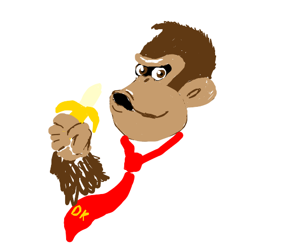 Donkey kong eating a banana