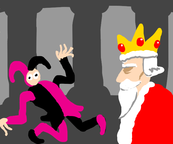 a king watching his deformed jester, bored.