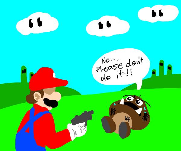 Some cute goomba pleads Mario to not do itt