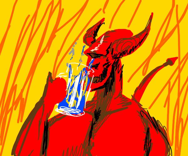 devil drinking blue fire