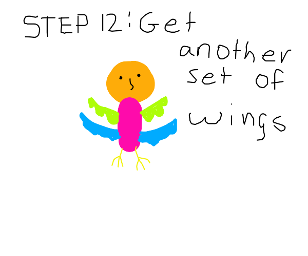 Step 11: get bird arms (wings), too