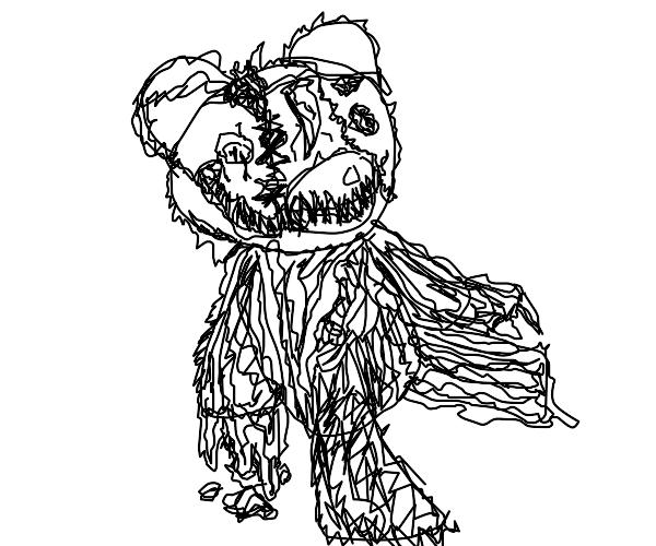 Spooky bear with claw on its head (gr8art)