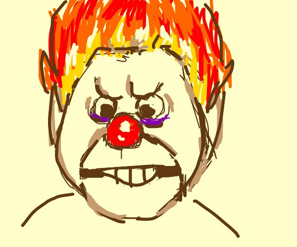 Clown with fire hair