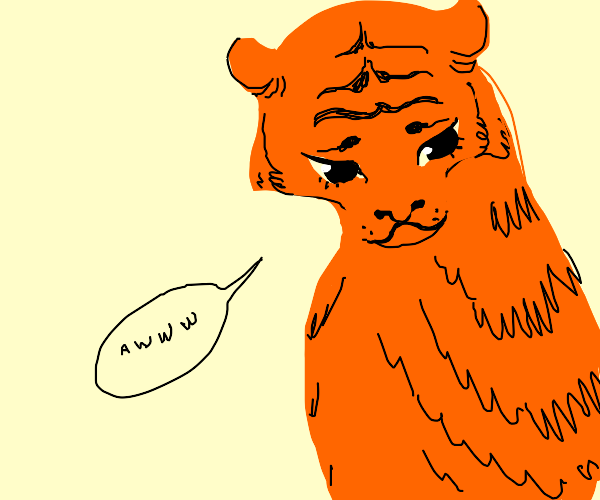 "Tiger goes ""Aww"""