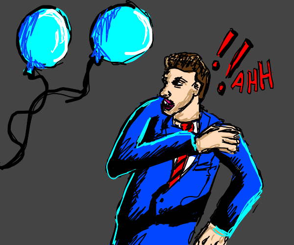 man is terrified of a big blue water ballon