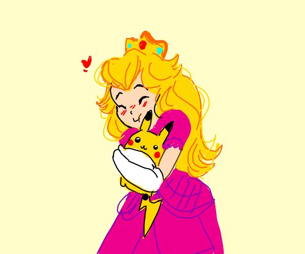 Peach hugging Pikachu