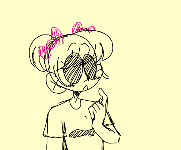 girl with two pink bows and holes for eyes