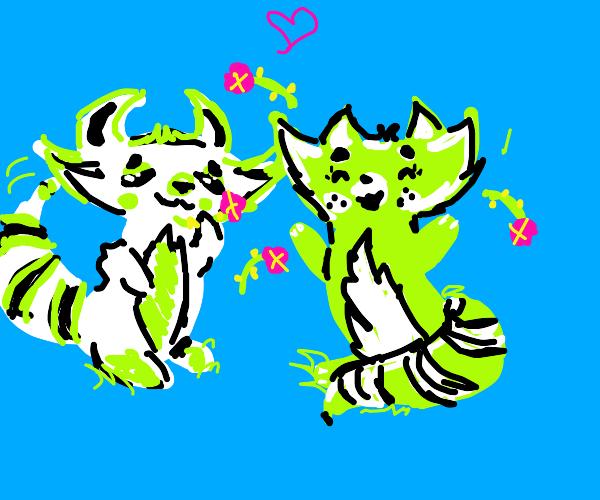 2 green raccoons.