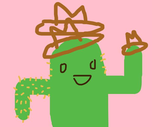 A cactus wearing three cowboy hats