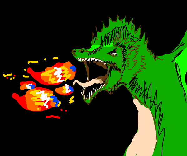 Fire Breathing Green Dragon