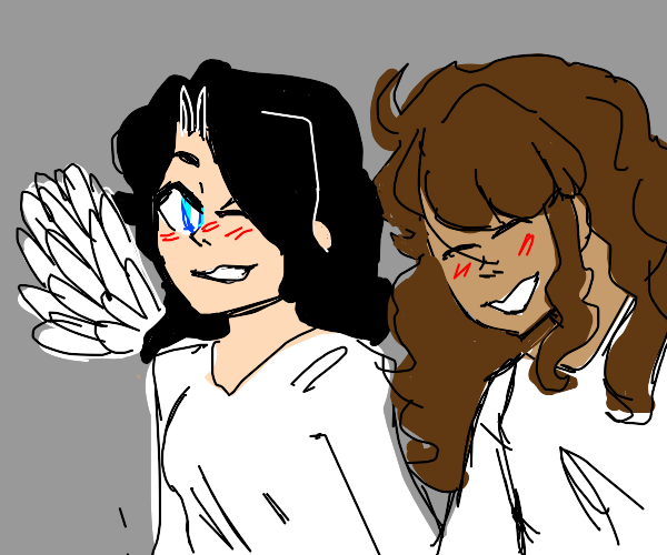 happy angels love each other
