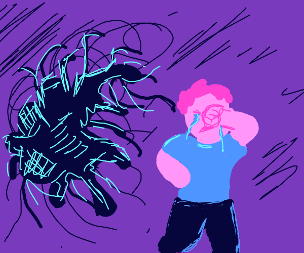 A crying boy running from something gross