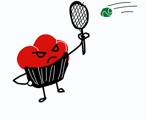 Angry red muffin plays tennis