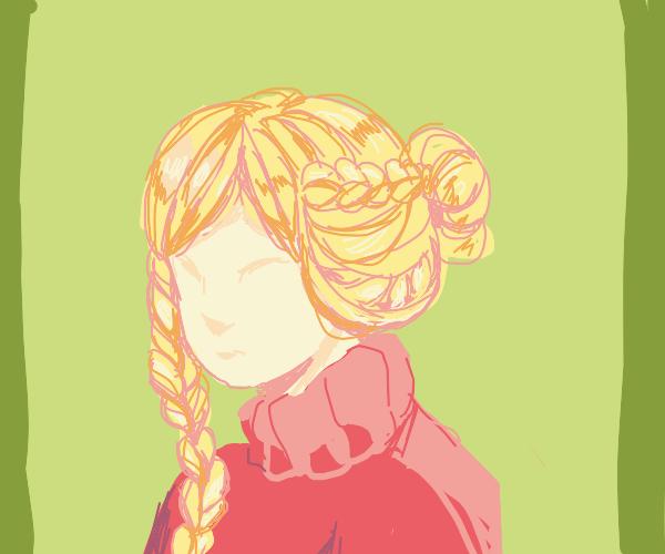 Blonde faceless girl