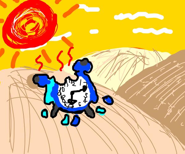 Clock melting under the sun