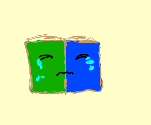 Half green half blue book crying