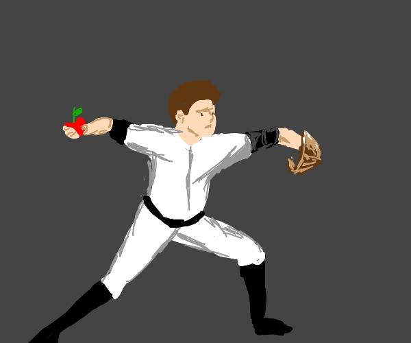 Baseball player uses apple as ball