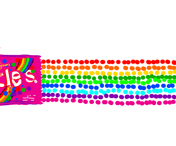 A line of skittles (The sweets)