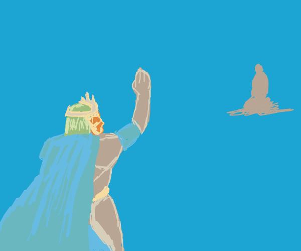Elf king waving to someone