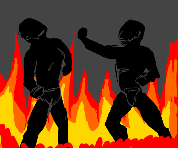 people on fire fighting