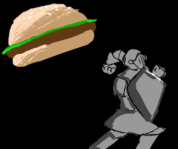 knight runs away from the gigantic burger
