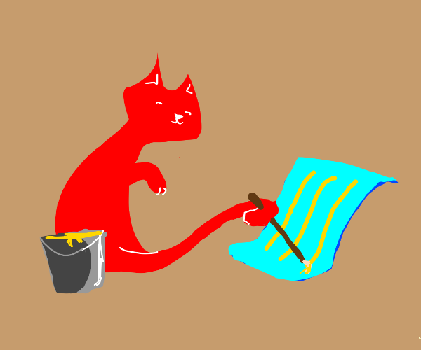 Red cat paint 3 yellow lines on blue paper