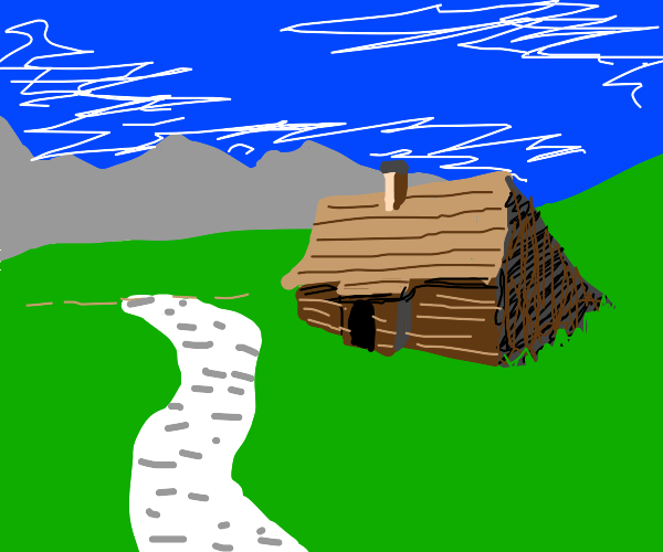 A log cabin by the mountains