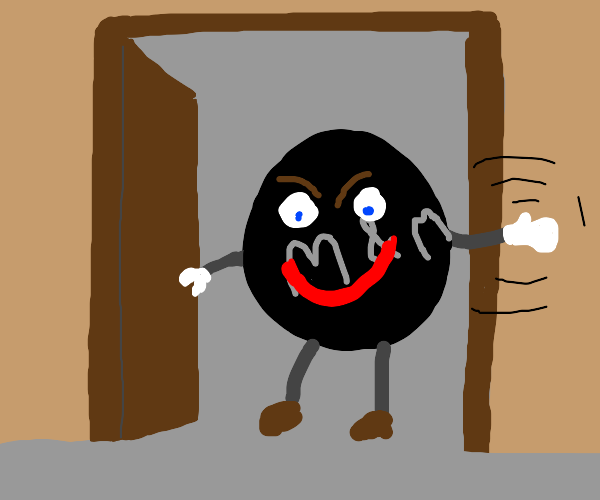 scary black m&m opening door to wave