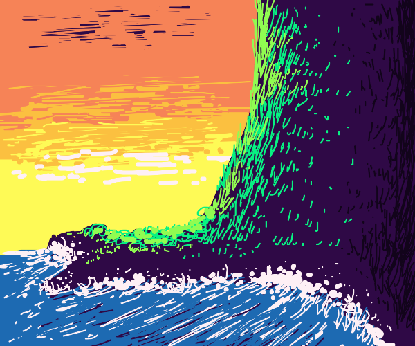 sunset and ocean waves hitting land