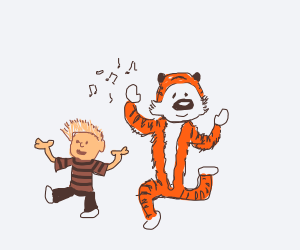 calvin and hobbes dancing